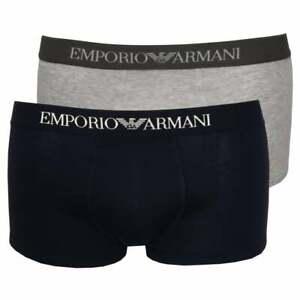 Emporio Armani 2-Pack Pure Cotton Men's Boxer Trunks, Navy/Grey