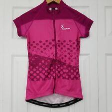 Klimatex Womens Short Sleeve Cycling Shirt Top Zip Front Back Pockets Pink Small