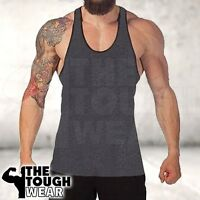 Gym Singlets Men's Tank Top Bodybuilding and Fitness- Stringer Dark Grey/Black