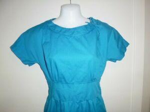Vtg 50's Cotton Day Dress Turquoise W/ Tiny Black Circles Sz L Side Zip CUTE!!