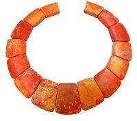 😏 Impressionen Jaspis orange Trapez-Scheiben Collier Perlen Set für Kette 😉