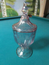 """HEISEY COVERED CANDY DISH 11"""" PURPLE AMETHYST CLEAR GLASS [*GLASS15]"""