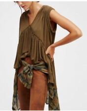 Brown Pleated Patched Loose Size Blouse #A840
