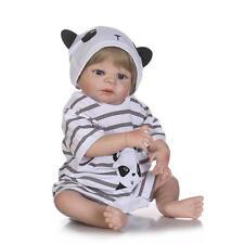 "Full Body 22"" Vinyl Silicone Reborn Boy Panda Stripes Baby Bath Dolls Children"