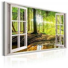 Bilder Leinwand Fenster Blick Wald auf Rahmen Wandbild Visario Bild 5001