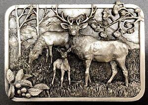 Siskiyou Oregon 1982 Belt Buckle with Elk Wapiti Deer Buck; Cast Metal (RF682)