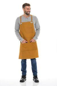 Canvas Work shop Tool Apron Men Women Adjustable Bib With Pockets & Crossback