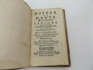 1718 Rare DIFESA di DANTE ALIGHIERI 1st Ed Giuseppe Bianchini FLORENCE Italian