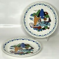 Two Flint Figgjo Norway Torskefiske Hand Painted Plates Fisherman 9.5 in. - Used