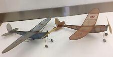 Vintage Pair of L'Avion De France-Sans Pilote-Airplanes Red & Blue Planes 1920s