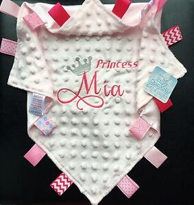 Baby Personalised Comforter Embroidered Princess/Prince Minky Blanket Name Gift