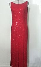 Vintage 90s red sequin party evening gown full length spaghetti strap backless M