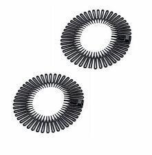 Stretch Zigzag Cheveux Bande Bandeau Noir Flexi Peigne bandeaux 1 paire [Vendeur Britannique]