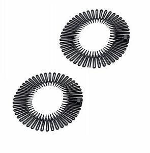 Stretch Zigzag Hair Band Headband Black Flexi Comb Headbands 1 pair [UK seller]