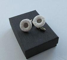Handmade Novelty Fun Gift - White Round Polo Mint Sweet Charm Cufflinks *