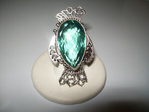 BEAUTIFUL 30CT GREEN AMETHYST COCKTAIL RING SIZE  6.5