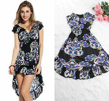 Women Ladies Black Printed Long Maxi V Neck Beach Summer Party Dress 10 12 14