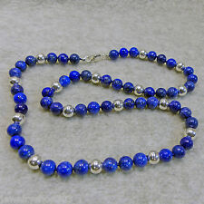 """Lapis Lazuli Sterling Silver Bead Necklace 8mm Round 23"""" Length Lobster Clasp"""