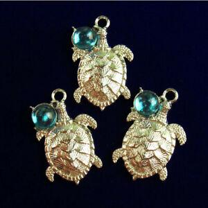 3Pcs Carved Tibetan silver Wrapped Blue Opal Turtle Pendant Bead R53997