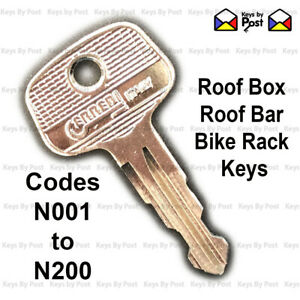 Thule Key Roof Box, Bar N001 - N200 Halfords, Hapro, Atera, Auo-Plas Keys