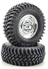"Apex RC Products 1.9"" Chrome ""5 Lug"" Wheels 100mm ""Grinder"" Crawler Tires #6161"