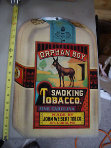 "VINTAGE ORPHAN BOY SMOKING TOBACCO AD POSTER CARDBOARD SIGN 17"" x 11-1/2"""