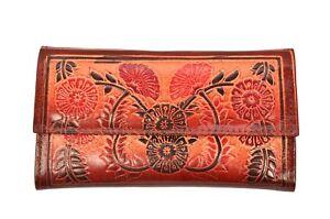 Genuine Leather Famous Indian Shantiniketan Clutch Womens Wallet Boho Purse