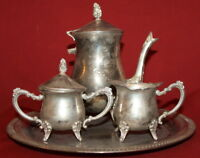 Vintage Silverplated Set Coffee/Tea Pot, Creamer, Sugar Bowl And Tray