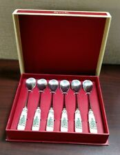 "SPODE Christmas Tree Set of 6 Tea Spoons 6"" New in Box"