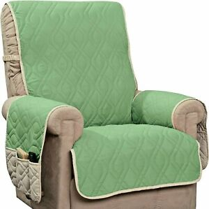 NEW INNOVATIVE TEXTILE SOLUTIONS RECLINER CHAIR Slip COVER/Protector-Green/Ivory