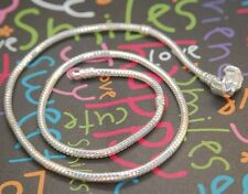 16 INCH EUROPEAN CHARM SNAKE CHAIN NECKLACE FOR BEAD SILVER ROUND CLASP R16