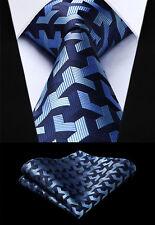 Party Wedding Woven Men Navy Blue Tie Plaid Necktie Handkerchief Set#TG804B8S