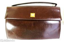 Vintage Gianni Versace Couture Medusa Dark Brown Leather Small Hand Bag Handbag