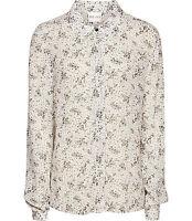 Reiss Womens Corrie Print Semi Sheer Long Sleeve Silk Blouse Top Sz 10 $210