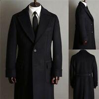 Herren Woll Trenchcoat Einreihig Langer Slim Fit Business Outfit Jackenmantel
