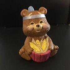 1988 Hallmark Thanksgiving Indian Bear with Corn Merry Miniatures