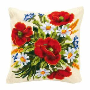 Poppies & Daisies Printed Chunky Cross Stitch Cushion Front Kit Vervaco 40x40cm