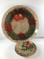 Pfaltzgraff Christmas Serving Platter With Dip Bowl Cardinal Wreath Holly Glass