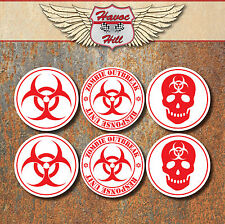 Bio Hazard Advertencia Zombie Laminado Adhesivo conjunto Rojo Blanco Biohazard calcomanías
