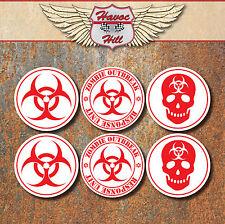 BIO hazard warning zombie laminé autocollant ensemble rouge blanc Biohazard stickers