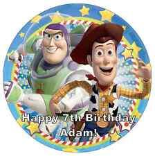 """Toy Story Buzz Y Woody Personalizado Cake Topper 7.5 """"Comestibles De Oblea De Papel"""