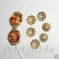 *100 PCS FLOWER BEAD CAP ~ 6MM GOLD PLATED