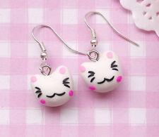Cute LUCKY CAT Kawaii Kitsch Clay Costume Drop Dangle Earrings - UK SELLER!