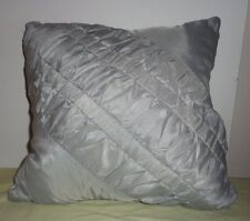 Gray Silver Diagonal Ruffle Striped Throw Toss Pillow Square Cushion Home Décor