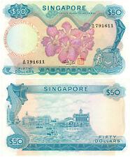 Singapore $50 P#5d (1967-73) Flower Series TDLR UNC