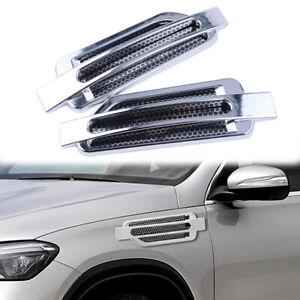 2Pcs Car Bonnet Air Flow Intake Side Fender Vent Moulding Chrome Decor Trim