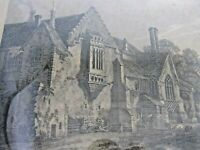 Old antique print - engraving of Castle Acre priory - Norfolk