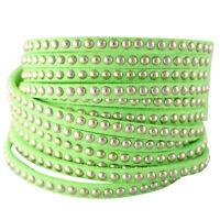 NEW Neon Green Studded Leather Wrap Bracelet