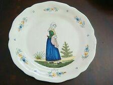 Quimper Little Breton Lady Plate Hubaudiere Bousquet,  French faience plate[120
