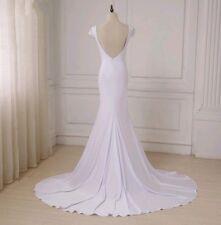 Vestido de Boda Reino Unido barato blanco sirena encaje abierto atrás Playa Boho Talla 8 Imagen Real